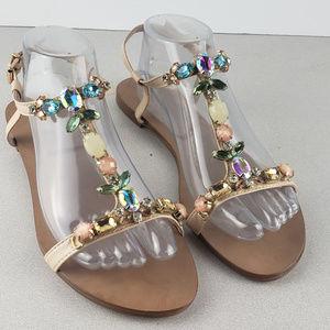 Dune Women Tan Jewel Sandals Size EUR 40